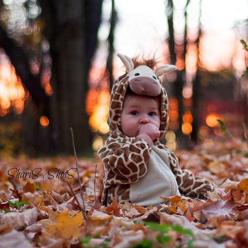 Baby in giraffe costume