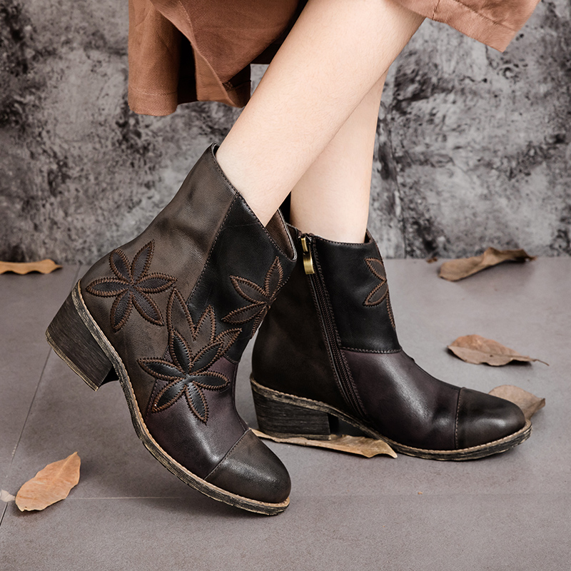 Plus-Size-Women-font-b-Boots-b-font-Genuine-Leather-Vintage-Style-Ankle-font-b-Boots