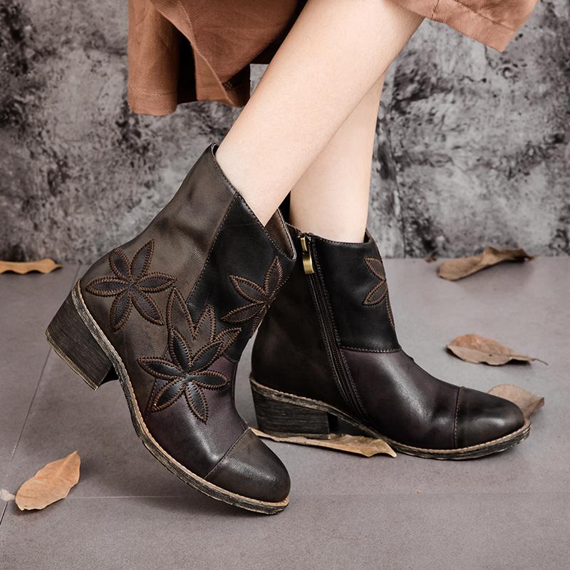 Plus-Size-Women-font-b-Boots-b-font-Genuine-Leather-Vintage-Style-Ankle-font-b-Boots