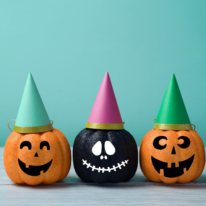 Pumpkins in party hats